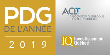 Bannière Prix PDG de l'année AQT-Investissement Québec 2019