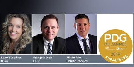 Bannière PDG de l'année 2019 AQT_Investissement Québec avec photo des trois finalistes