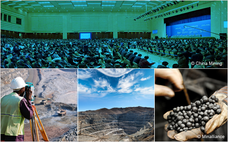 Photo 1 : Assemblée de participants à la conférence China Mining 2013 - photo : Courtoisie China Mining; photo 2 : Arpenteur dans une mine à ciel ouvert; photo 3 : Mine à ciel ouvert; photo 4 : Boulettes de fer - photo : Courtoisie Minalliance