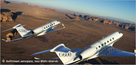 Photo des avions G500 et G600 de Gulfstream Aerospace
