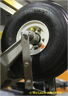 Photo of a landing gear designed and manufactured by Mecaer America