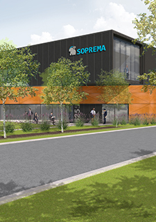 Illustration representing the future Soprema plant in Sherbrooke