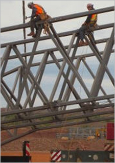 Photo Tata Steel workers on a steel structure