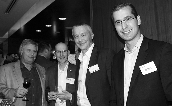 Photo of Luc Leduc, Fromageries Bel Canada, Jean-François Brochu, Investissement Québec, Franck Willier, Cicame Énergie, and Jean Gagnon, Labatt