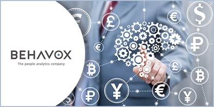 Illustration showing a man in the background with gears and symbols representing currencies and Behavox logo accompanied by a text indicating