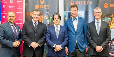 From left to right: Benoit Dorais, President of the Executive Committee of the City of Montréal, François Blais, Minister of Employment and Social Solidarity, Steve O'Brien, President and CEO of Reel FX, Hubert Bolduc, President and CEO of Montréal International and Pierre Gabriel Côté, President and CEO of Investissement Québec.