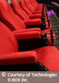Photo of vibrating movie theatre seats that use technology created by D-BOX Technologies Inc. Courtesy of the Technologies D-Box Inc.