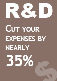 "Illustration indicating ""R&D: Cut your expenses by nearly 35%"""
