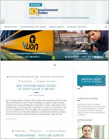 Capture d'écran du blogue d'Investissement Québec