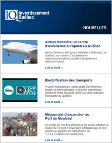 Capture d'écran d'une infolettre d'Investissement Québec