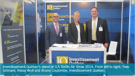 Investissement Québec's stand at ILA Berlin Air Show 2014. From left to right: Yves Grimard, Kessy Wolf and Bruno Coulombe, Investissement Québec.