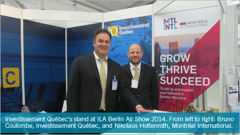 Investissement Québec's stand at ILA Berlin Air Show 2014. From left to right: Bruno Coulombe, Investissement Québec, and Nikolaus Hottenroth, Montréal International.