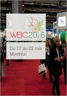 Logo du World Bio Congress -Texte indiquant : Du 17 au 22 mai à Montréal