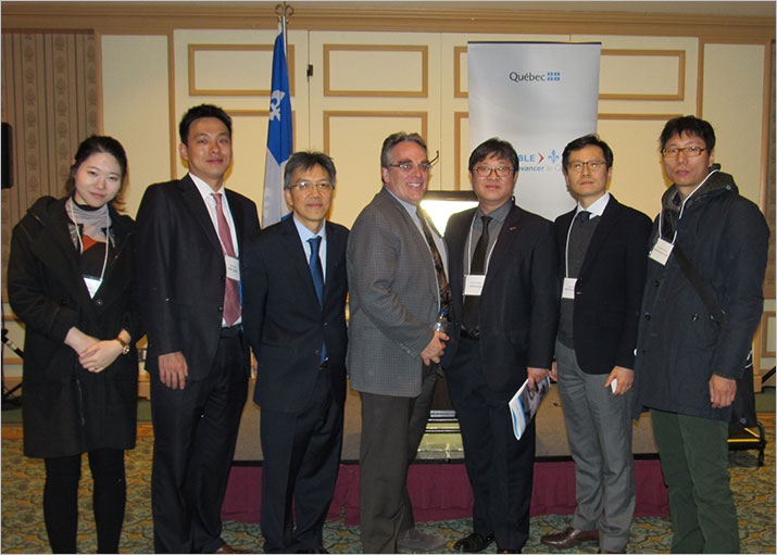 Kim Ah-You, Project Manager, with Robert Giguère, Director General of Géologie Québec (MERN), and representatives from Korea Resources Corporation (KORES), a Korean government corporation active in the exploration and development of mineral resources.