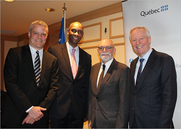 From left to right: Amyot Choquette, Senior Director, Investments – Mining, Oil and Gas; Iya Touré, Vice-President, Ressources Québec; Robert Sauvé, President and CEO of Société du Plan Nord, and Robert Keating, Deputy Minister of Energy and Natural Resources.