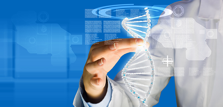 Photo of a woman scientist touching DNA molecule image at media screen