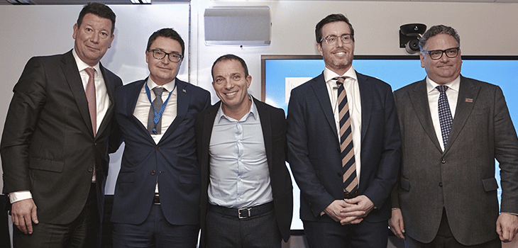 From left to right: Hubert Bolduc, President and CEO of Montreal International, Éric Dequenne, Vice President International Affairs at Investissement Québec, Mitch Garber, President of Invest in Canada, Shane Russell, Director, Strategies for the Health System and Governmental Affairs and Benoît Larose, Vice-President, MEDEC