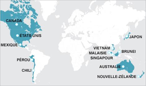 Carte du monde indiquant les pays membres du Partenariat transpacifique