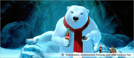 Picture of an advertising of Coca Cola Polar Bear, courtesy of Framestore