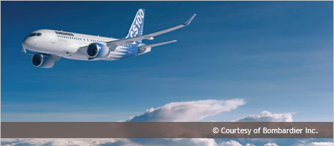 Picture of a CS100 airplaine - Courtesy of Bombardier