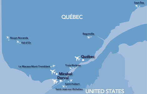 A map showing the locations of Québec's airports