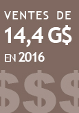 Illustration indiquant ventes de 14,4 G$ en 2016
