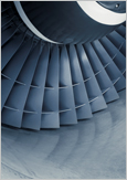 Photo : close-up of an aircraft turbine