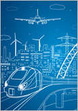 Vector illustration of a city with a train and an aircraft in the foreground