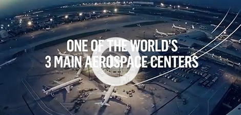 Screenshot of a promotional video on the Quebec aerospace sector