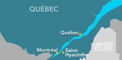 A map of Québec showing the cities of Montréal, Québec and Saint-Hyacinthe, the province's top agri-food research centres