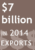 "Illustration indicating ""$7billion in 2014 exports"""