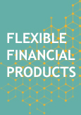 "Illustration with a text indicating ""Flexible financial products"""