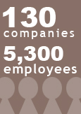"An image reading ""130 companies, 5,300 employees"