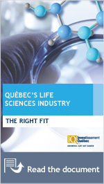 Close-up of a lab test. Front cover of Québec's Life Sciences Industry brochure.