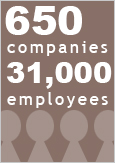 "An illustration reading ""650 companies, 31,000 employees"""