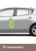 A photo of the Nissan LEAF electric car used by Communauto, courtesy of Communauto