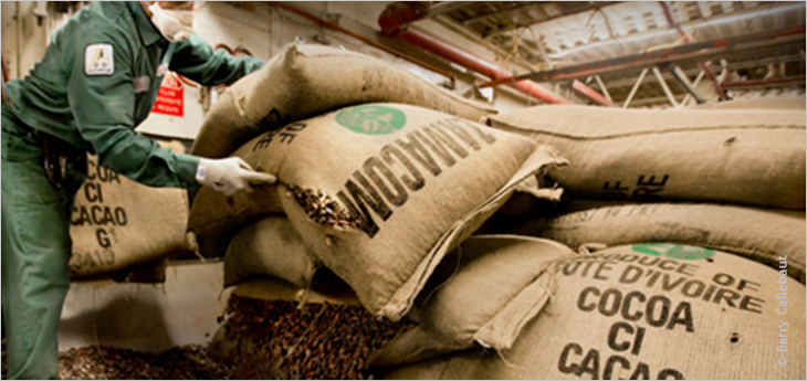 Photo of a factory worker opening a sack of cocoa beans