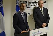 Photo de M. Guy Leblanc, nouveau PDG d'Investissement Québec, en compagnie de M. Pierre Fitzgibbon, ministre de l'Économie et de l'Innovation