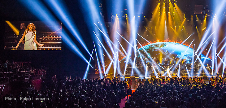Photo of a Céline Dion show, with lighting and special effects by Solotech. Photo courtesy of Ralph Larmann