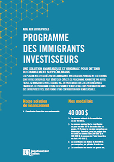 Illustration de la couverture du document PDF Programme des immigrants investisseurs