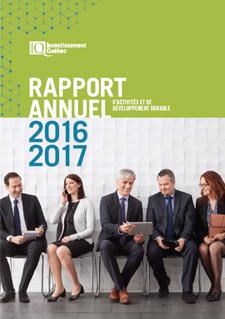 Photo d'employés d'Investissement Québec et texte indiquant Rapport annuel d'activités et de développement durable 2015-2016
