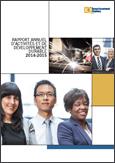 Photo d'employés d'Investissement Québec et texte indiquant Rapport annuel et rapport de développement durable 2014-2015