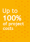 Illustration indicating Up to 100% of the cost of your project