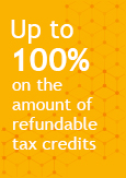 Illustration indicating that financing can cover up to 100% of refundable tax credits