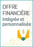 Visuel de la matrice et d'un hexagone avec le texte : Offre financière intégrée et personnalisée