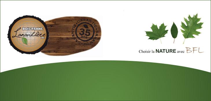 Logo de Bois Franc Lanaudière et texte indiquant  « Choisir la nature avec BFL »