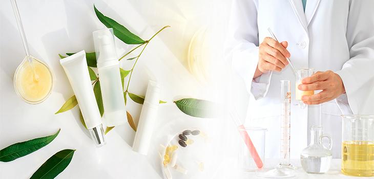 Photo concept : laboratoire avec produits de beauté en crème
