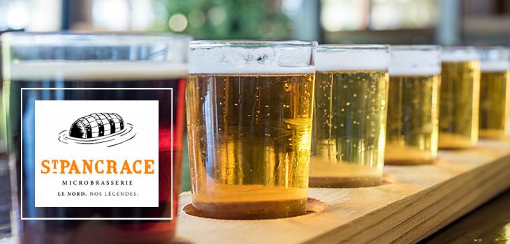 Verres de bière et logo de la Microbrasserie Saint-Pancrace