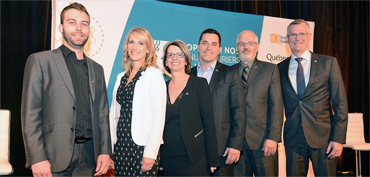 De gauche à droite : Alexandre Gagnon, Julie Simard, Chantale Tremblay, Martino Morin, Joël Girard et M. Côté.
