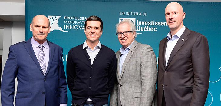 De gauche à droite: Robert Claude (IQ), Philippe Olcelli (Recherche Extrusion Dienamex), Marc Langlois (IQ) et Jocelyn Beauchesne (IQ)